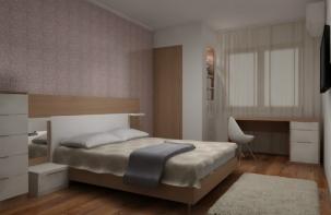 Интериорен проект на спалня с работен кът