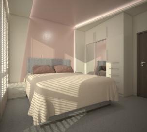 Проект за спалня с окачен таван и скрити осветления