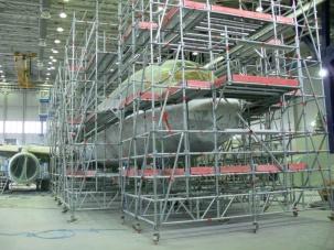 Модулно скеле за авиоремонт
