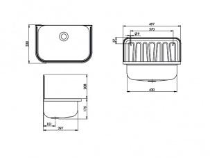 Сервизна мивка Аусгус - размери