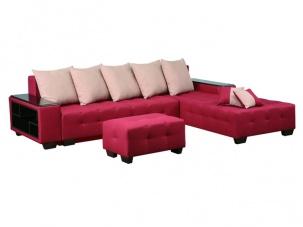 Ъглов диван с табуретка