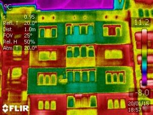 Изтичане на топлина от сгради без изолация