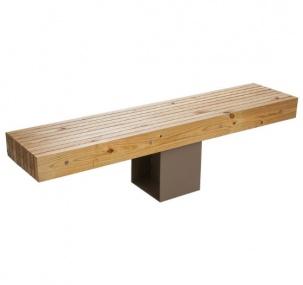 Дървена пейка със стоманена основа