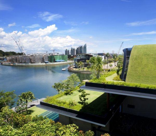 къщи със зелен покрив