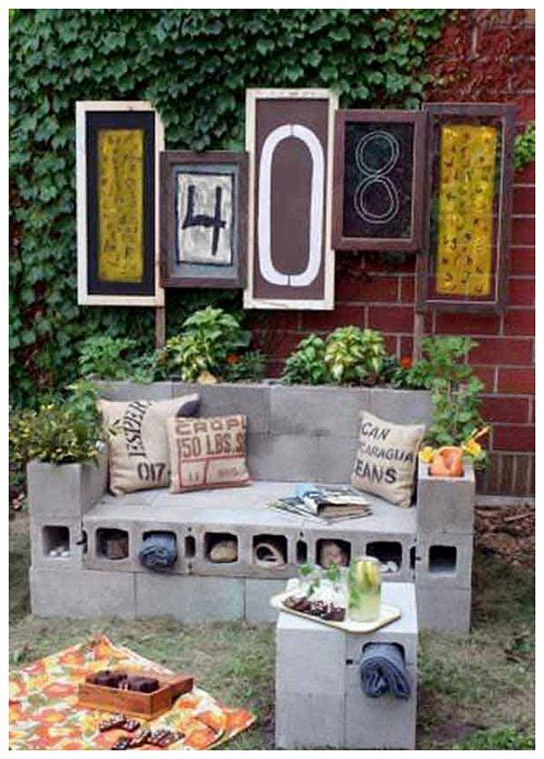 Идея за градината с бетонни блокчета